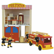 Wooden Fire Station, 4 dolls, 10 pc of furniture Fire Truck