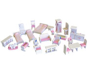 Wooden Dollhouse Furniture Package in White with Pink accessories by Timbertop Toys