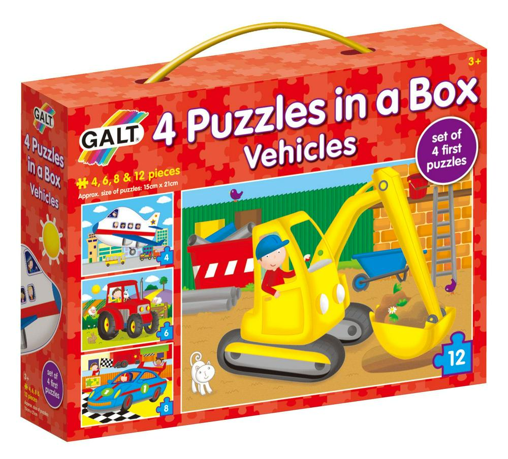 Galt 4 Puzzles in a Box - Vehicles Puzzle 3+