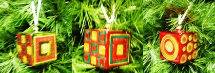 Glass Cubes Christmas decorations set x 3