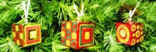 Glass Cubes set x 3 Christmas Decorations