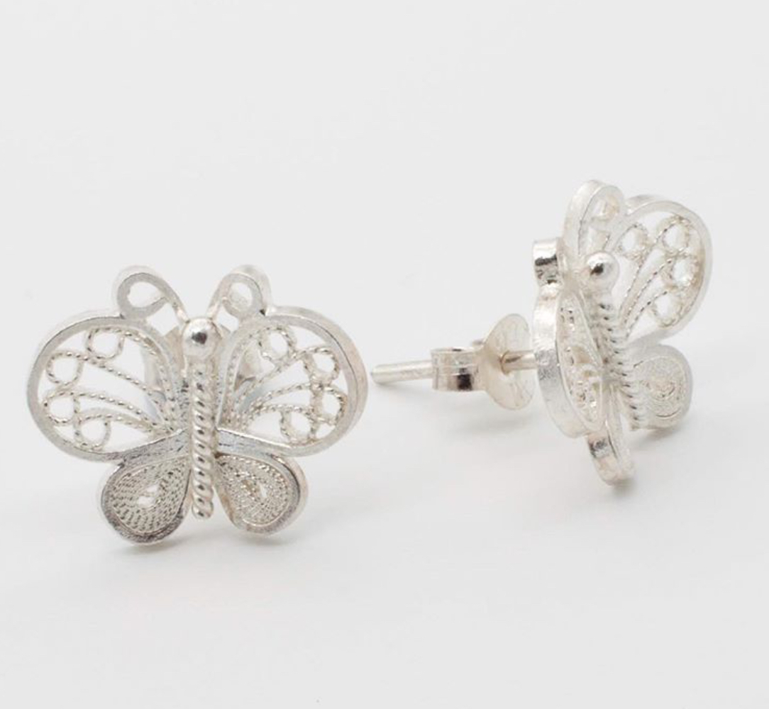 Filigree Sterling Silver Web Butterfly (Mariposa Web) Stud Earrings by Gaviota