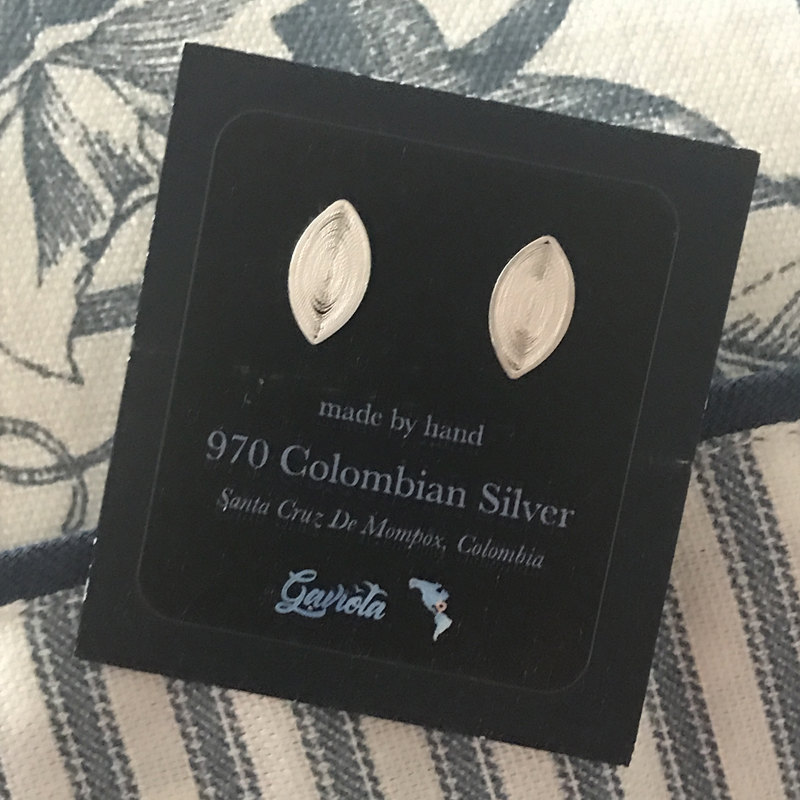 Filigree Sterling Silver Leaf Stud Earrings by Gaviota