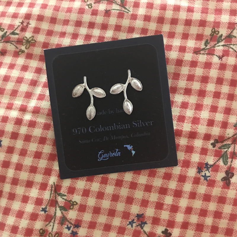 Filigree Sterling Silver Hojas Solidas Sencillas Stud Earrings by Gaviota