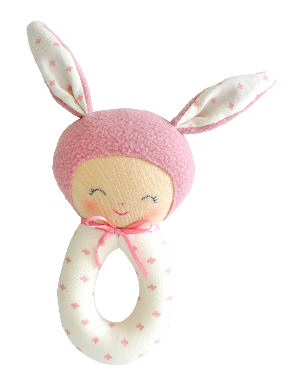 Charlie grab rattle in Pink 18cm By Alimrose