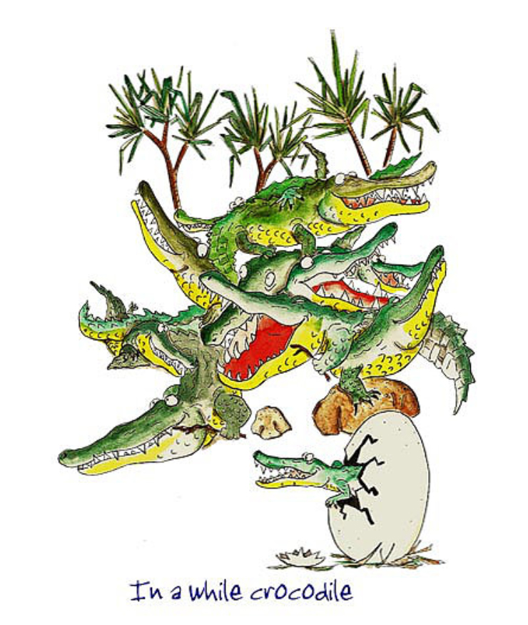 Australian Greeting Card ~ In a while crocodile