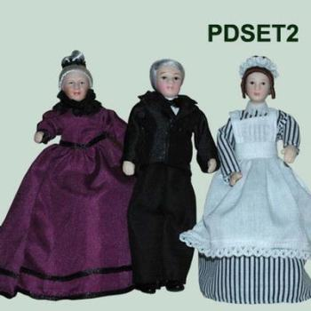 Porcelain set x 3 dolls, nanny,butler,maid