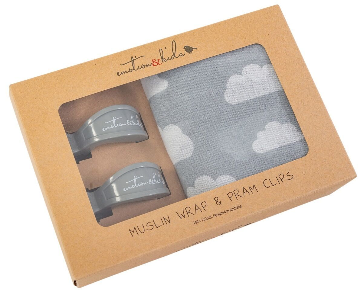 Emotion & Kids Muslin Wrap in Grey Clouds with matching set of Pram Clips