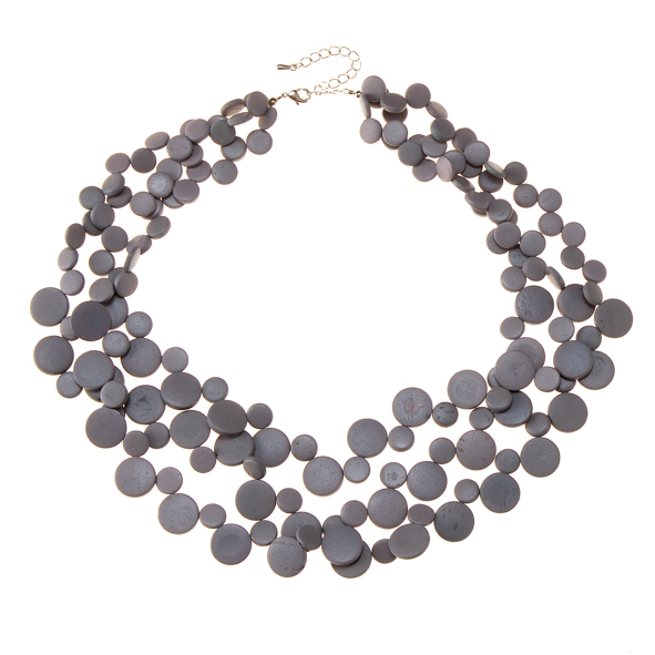Shady Grey 3 Strand Necklace by Cool Coconut