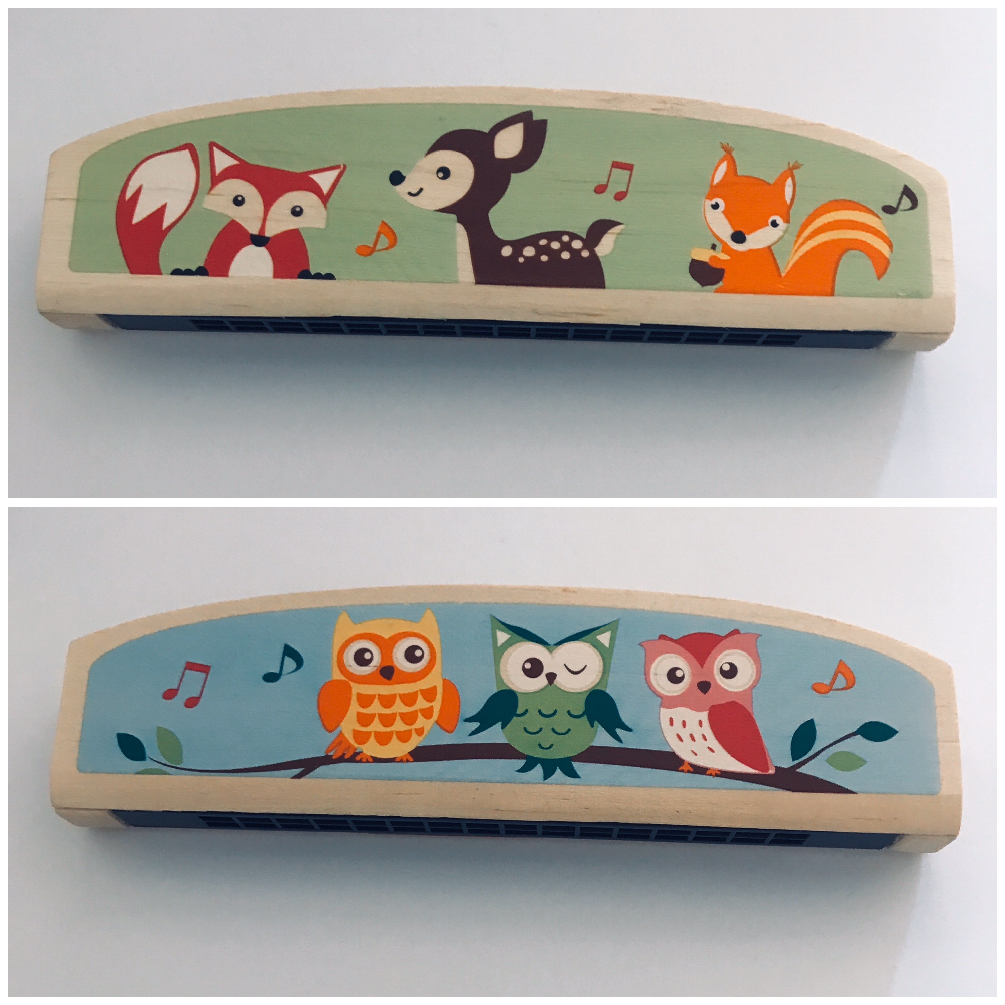 Kaper Kidz Wooden Harmonica in Forest Friends Designs (Fox/Owl)