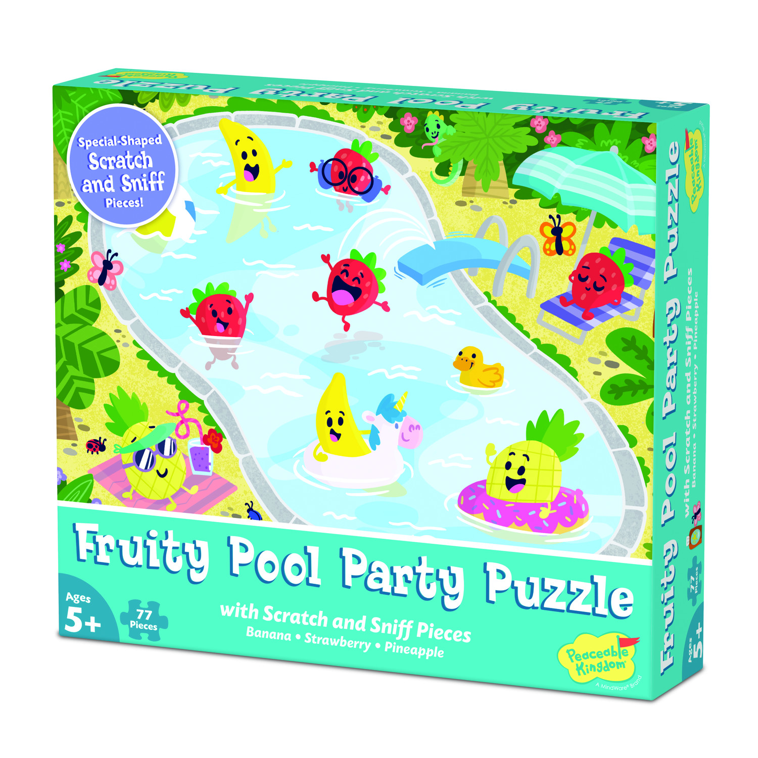 Scratch and Sniff  77pc Jigsaw Puzzle: Fruity Pool Party by Peaceable Kingdom 5+