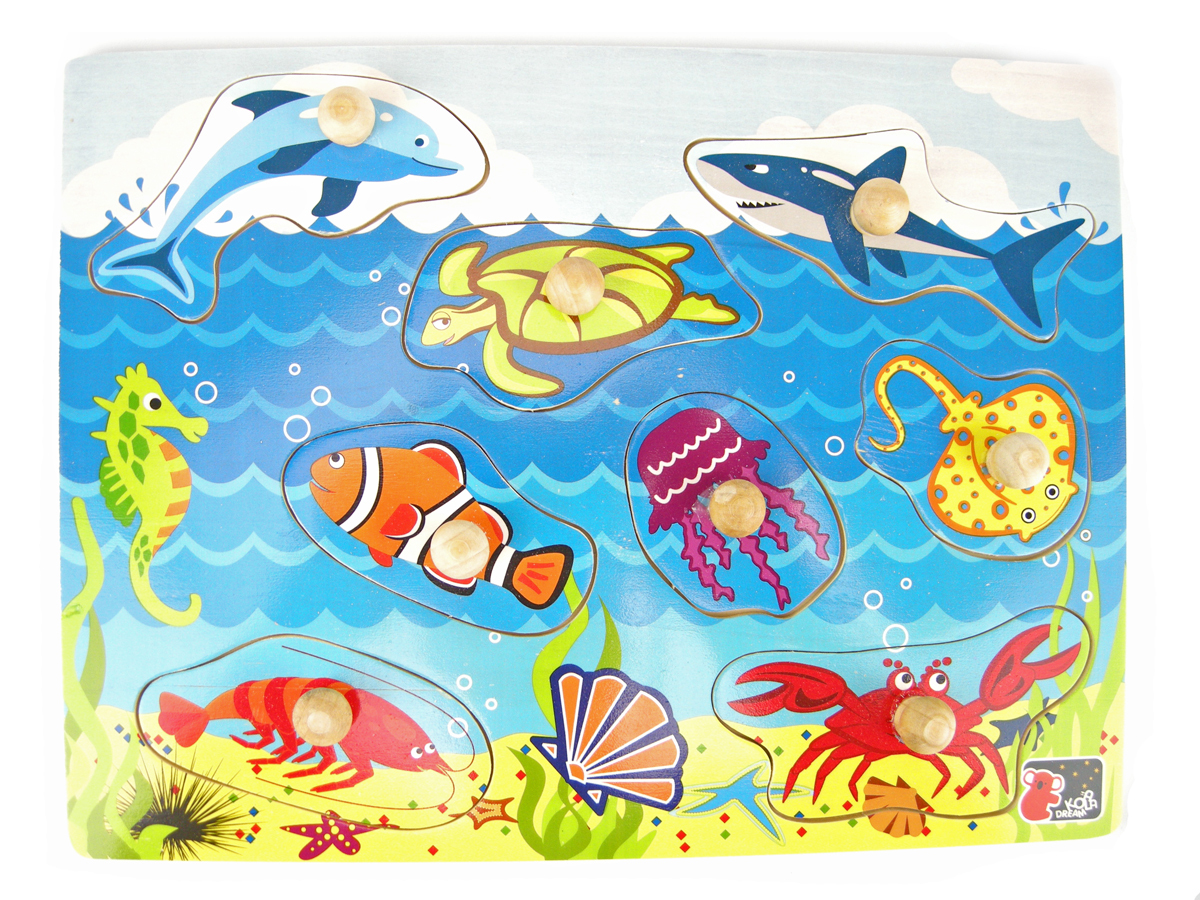 Wooden knob sea animal puzzle by Kaper Kids