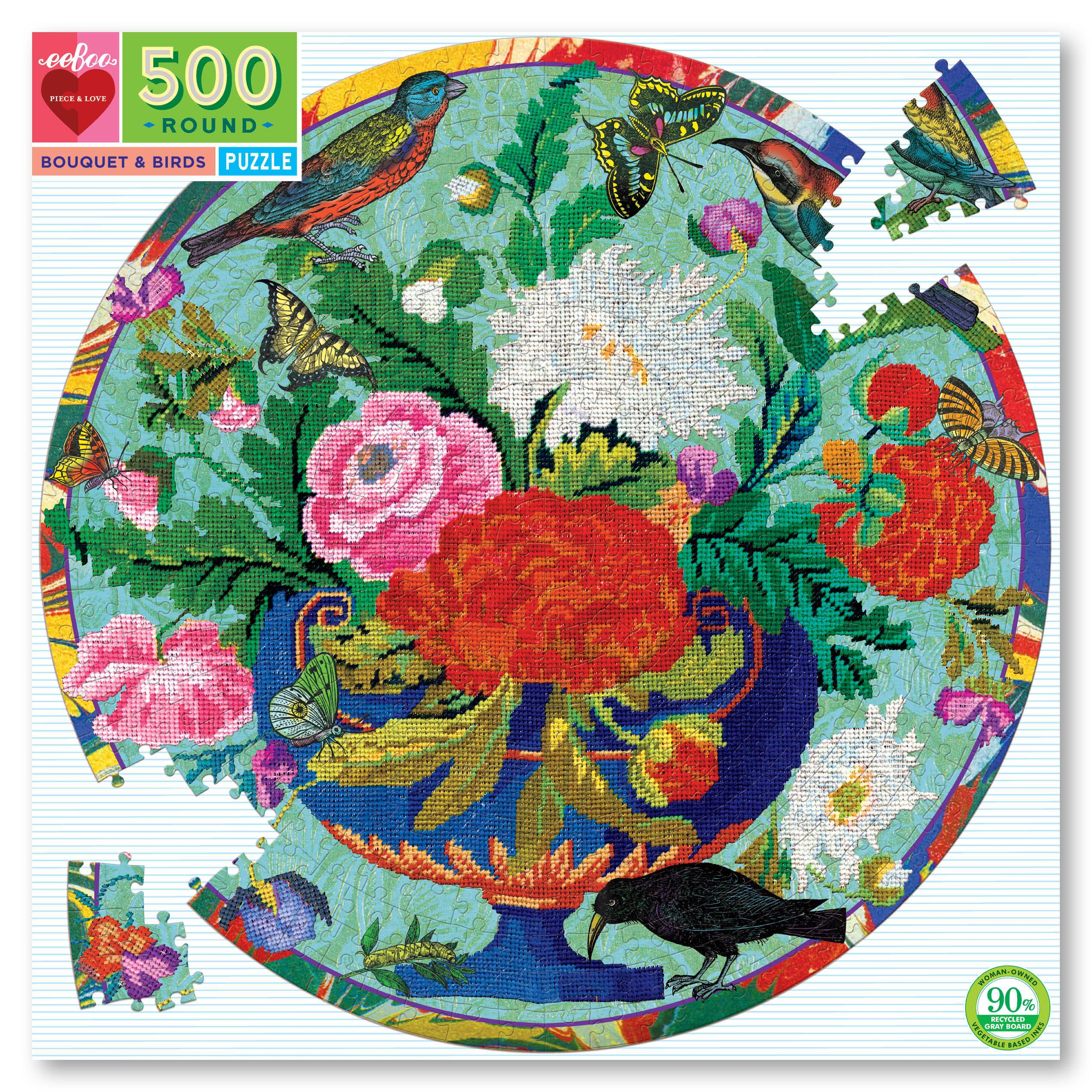 Bouquet & Birds 500 Piece Round Jigsaw Puzzle by eeboo
