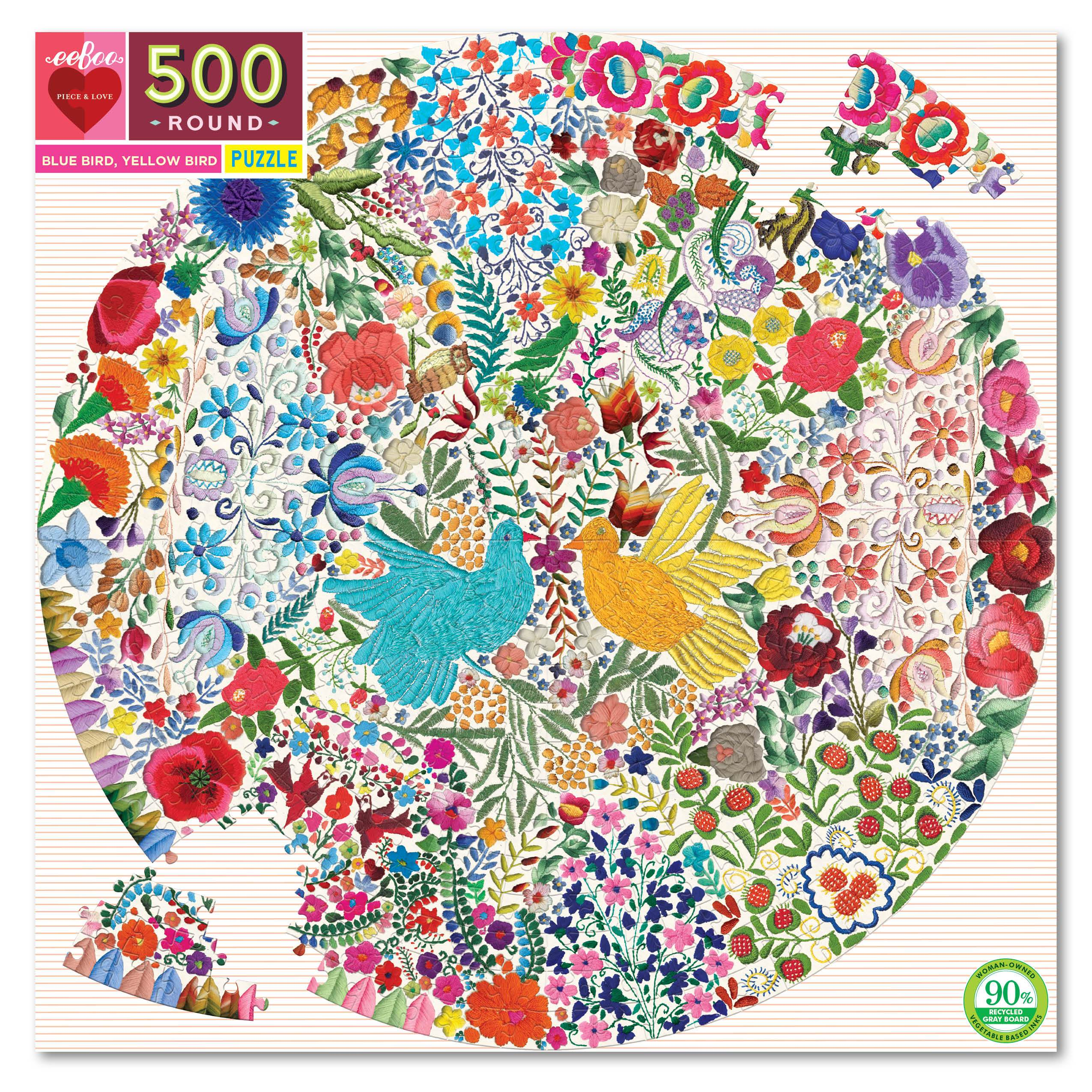 Blue Bird Yellow Bird 500 Jigsaw  Piece Round Puzzle by eeBoo