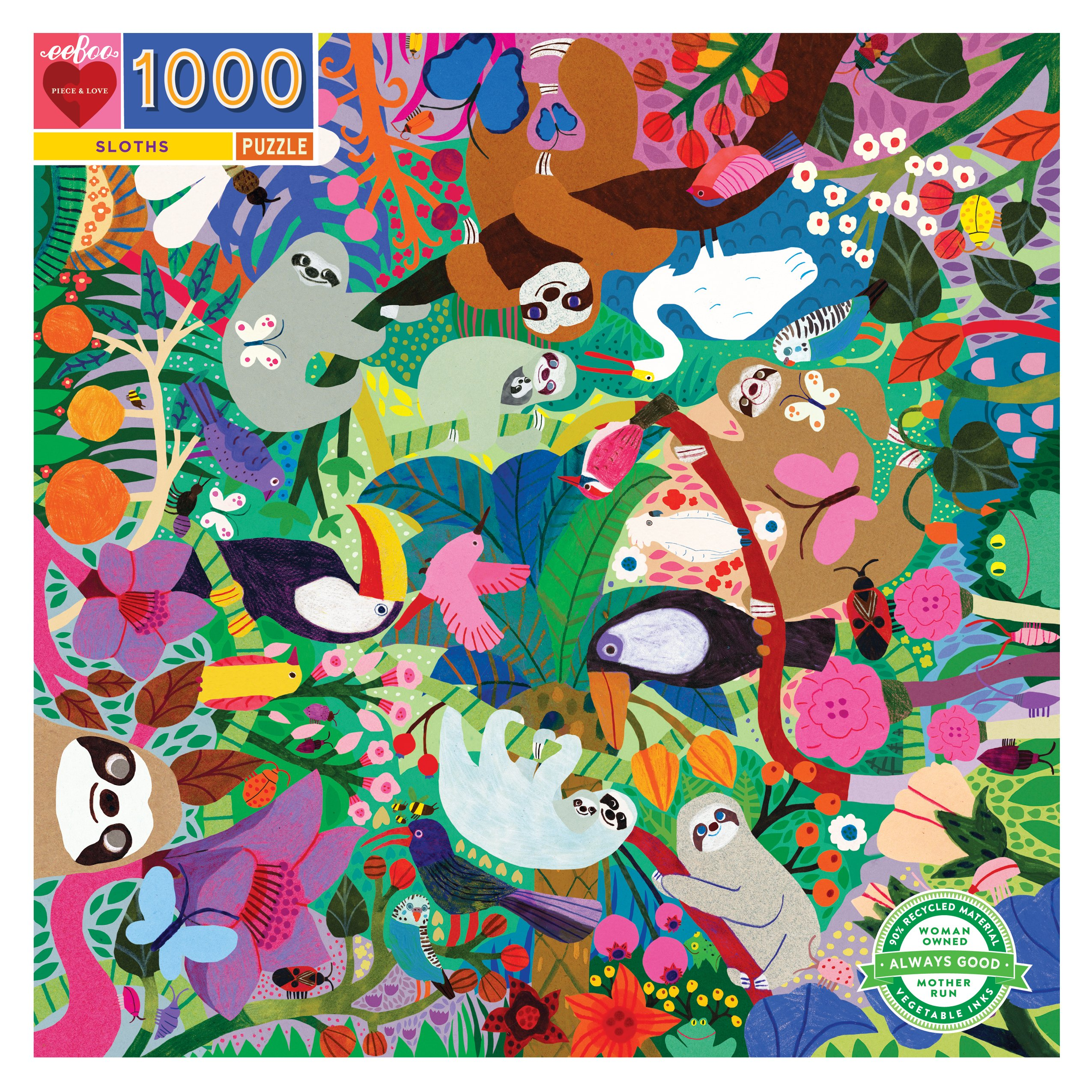 Sloths 1000 Piece Jigsaw Puzzle by eeboo