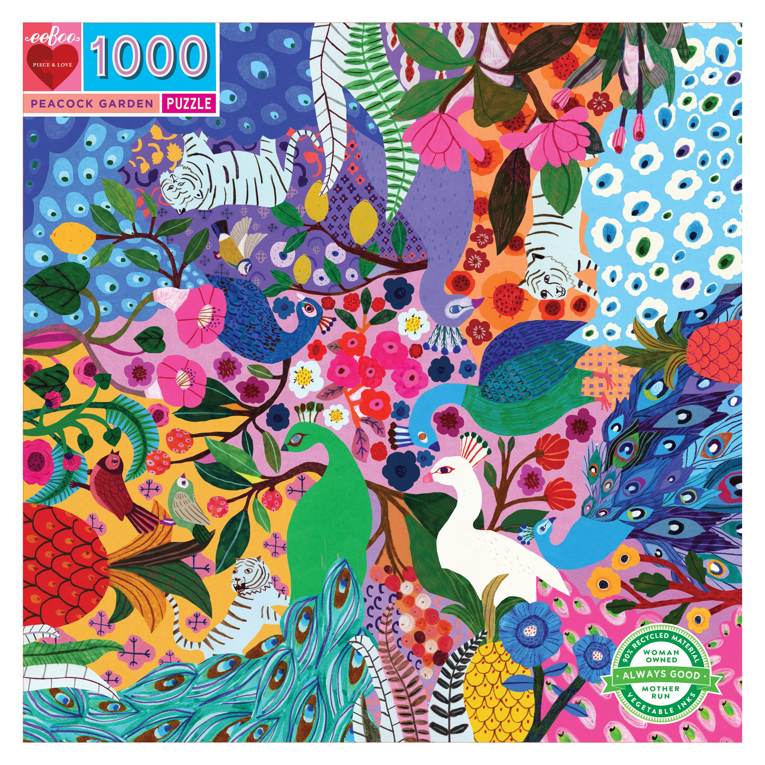 Peacock 1000 Piece Jigsaw Puzzle by eeBoo