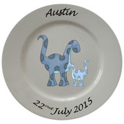 Personalised Porcelain Plate for Boys ~ Blue Dinosaur Design