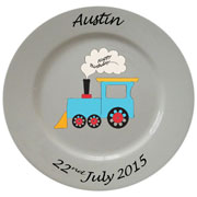 Personalised Porcelain Plate for Boys ~ Blue Train Design