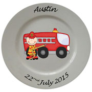 Personalised Porcelain Plate for Boys ~ Fireman Design