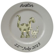 Personalised Porcelain Plate for Boys ~ Green Dinosaur Design