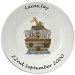 Personalised Porcelain Plate for Boys ~ Noah's Ark Design