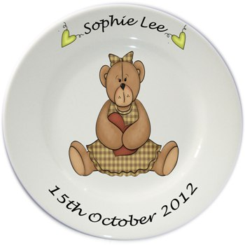Personalised plate for Girls - Bear Sitting Design