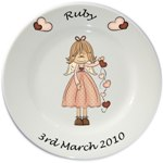 Personalised plate for Girls - Angel (Ruby) Design