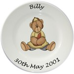Personalised Porcelain Plate for Boys -- Bear Sitting Design