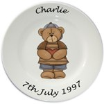 Personalised Porcelain Plate for Boys -- Bear Standing Design