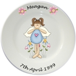 Personalised plate for Girls - Blue Fairy Design