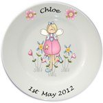 Personalised plate for Girls - Pink Fairy Design