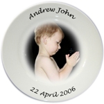 Photo Personalised Baby,kids Porcelain Plate in Colour,Sepia, or Black & White
