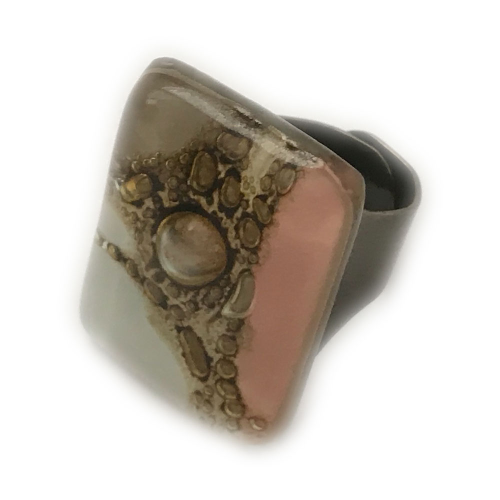 Pink, White & Natural tones  Fused Glass Montecarlo Ring by Cristalida