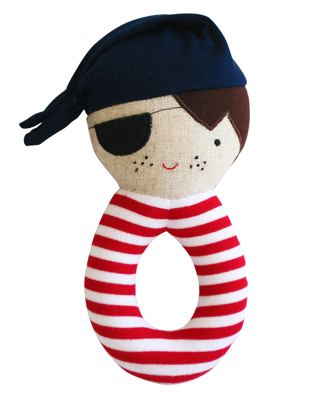 Linen Pirate Grab Rattle in Navy 16cm By Alimrose