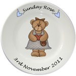 Personalised plate for Girls - Bear Standing  design