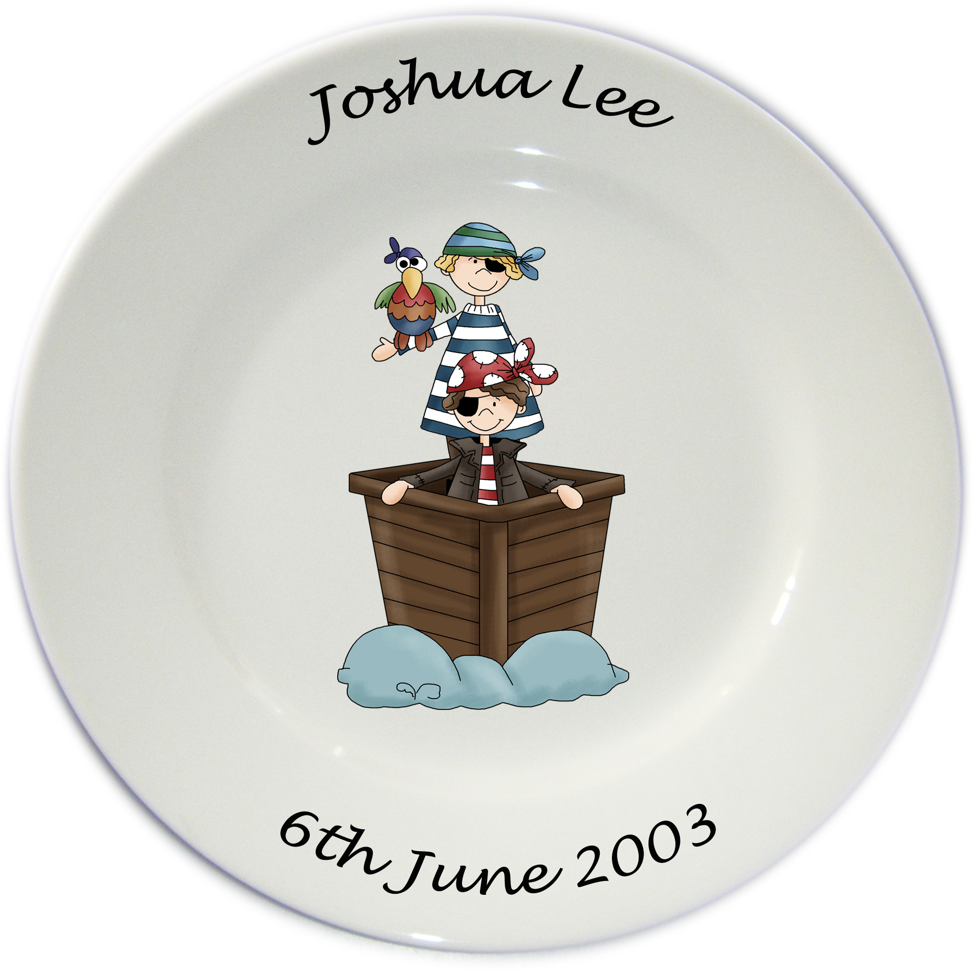 Personalised Porcelain Plate for Boys ~ Pirate Design