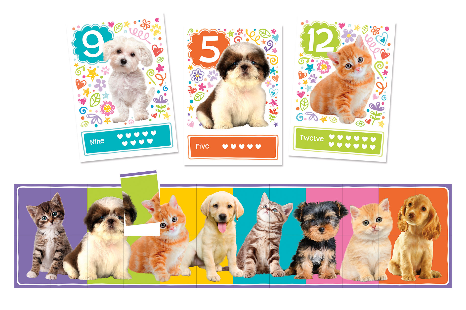 Match Up Game & Puzzle, Learn to count -- Puppies & Kitties by Peaceable Kingdom