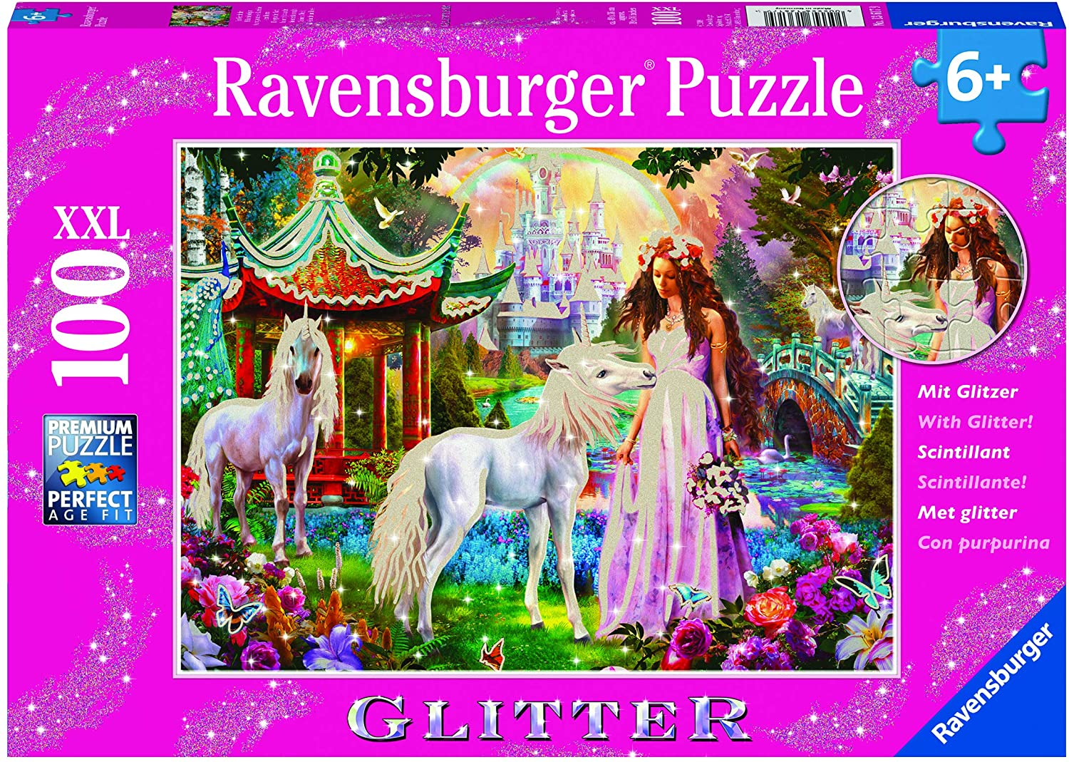 Ravensburger Princess with Unicorn Puzzle GLITTER 100pc 6+