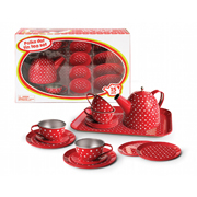 Tin Tea set in Red Polka Dot Design for 4 ~ 15 pieces