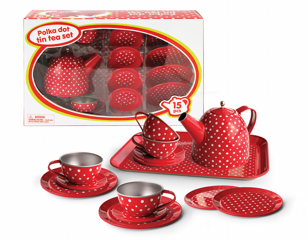 Tin Tea set for 4 in Polka Design