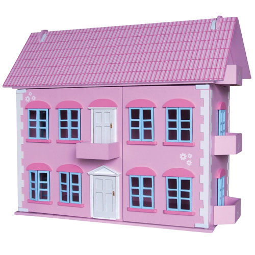 Wooden Regency Dollhouse with 25pcs of furniture & 7 dolls