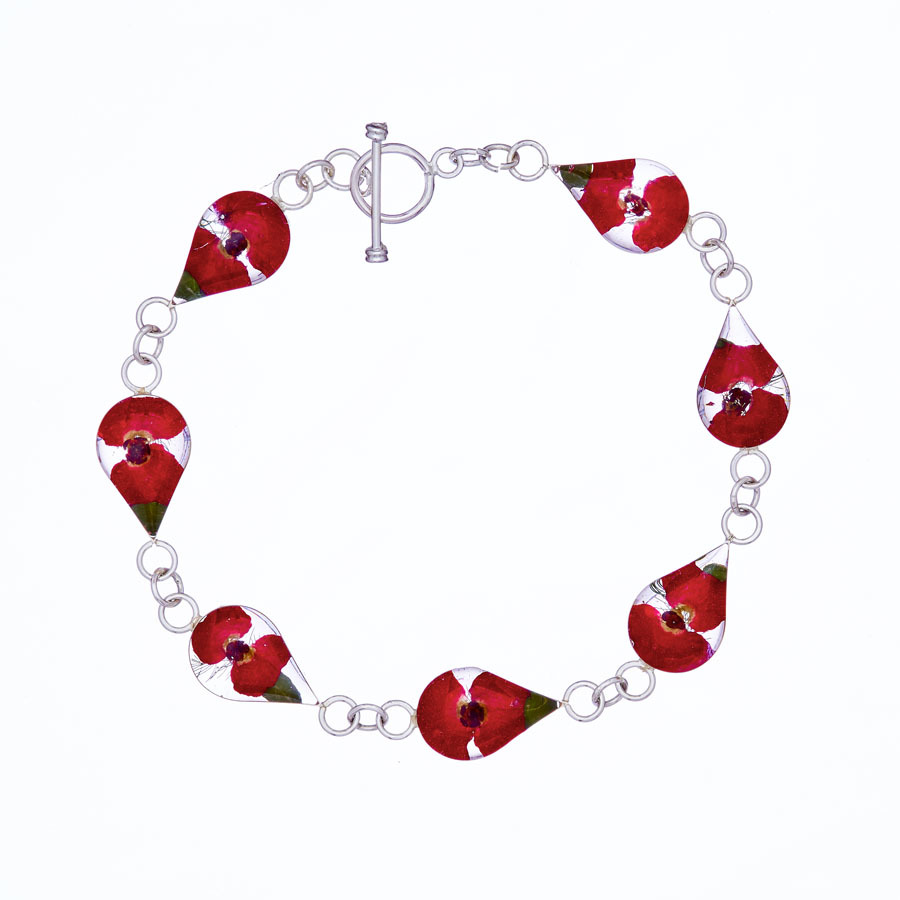 Red Mexican Flowers Drop Bracelet by San Marco 21cm