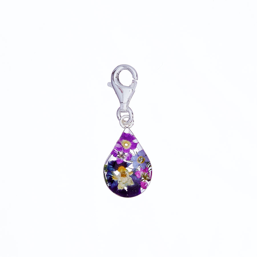 San Marco Purple Mexican Flowers Drop Charm with Clasp