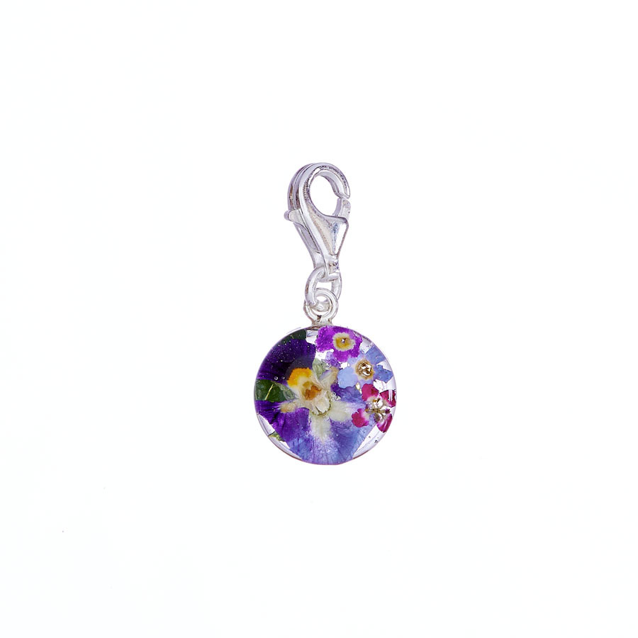 San Marco Purple Mexican Flowers Round Charm with Clasp