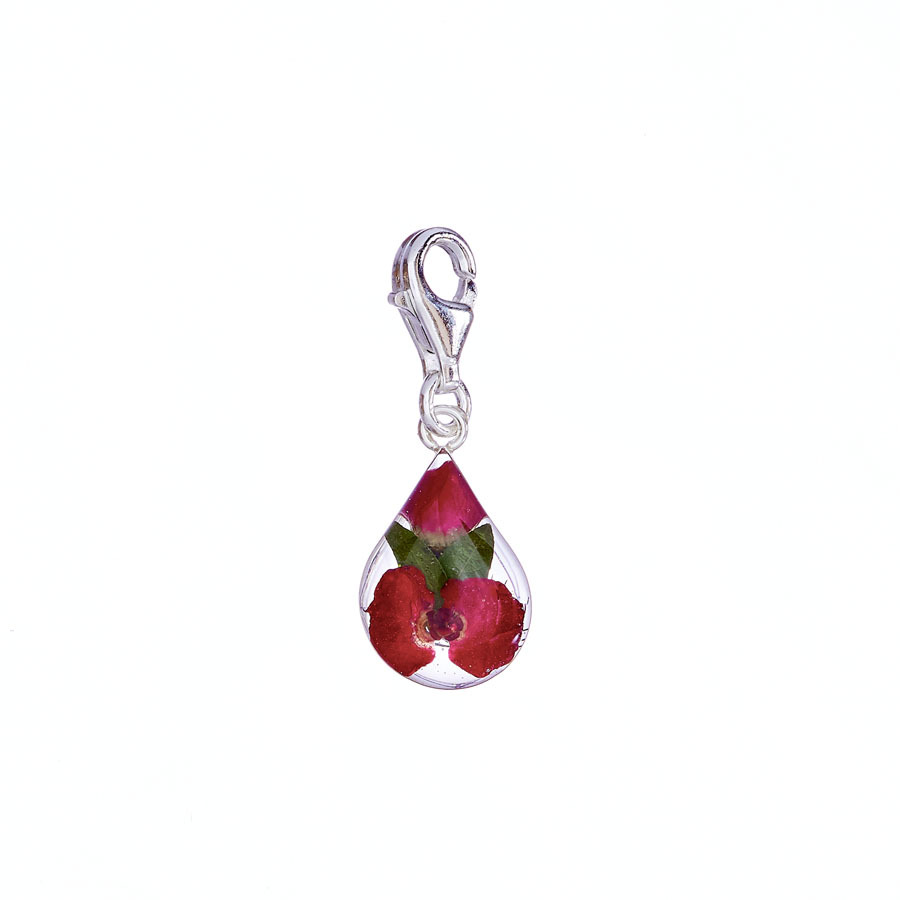 San Marco Red Mexican Flowers Drop Charm with Clasp