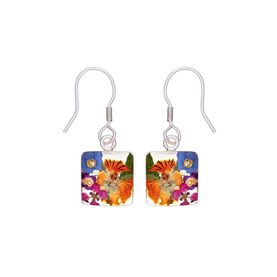 San Marco Garden Mexican Flowers Square Small Earrings