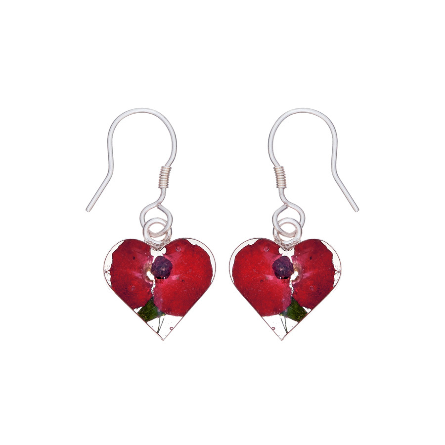 San Marco Red Mexican Flowers Heart Small Hook Earrings