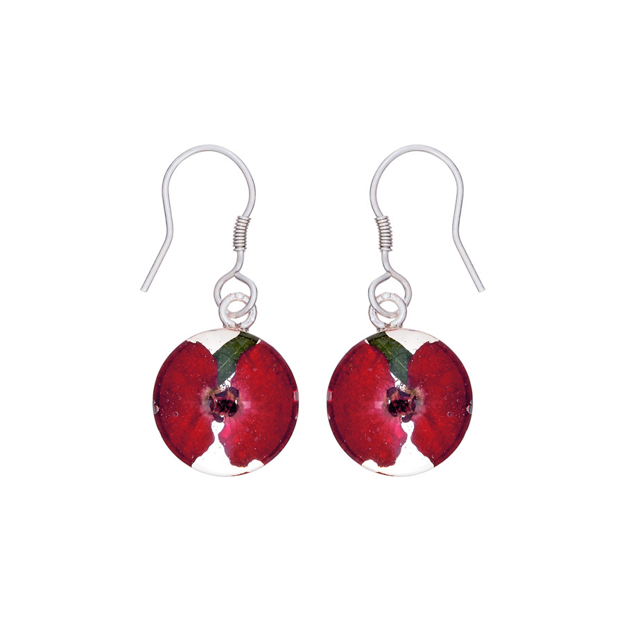 San Marco Red Mexican Flowers Round Small Hook Earrings