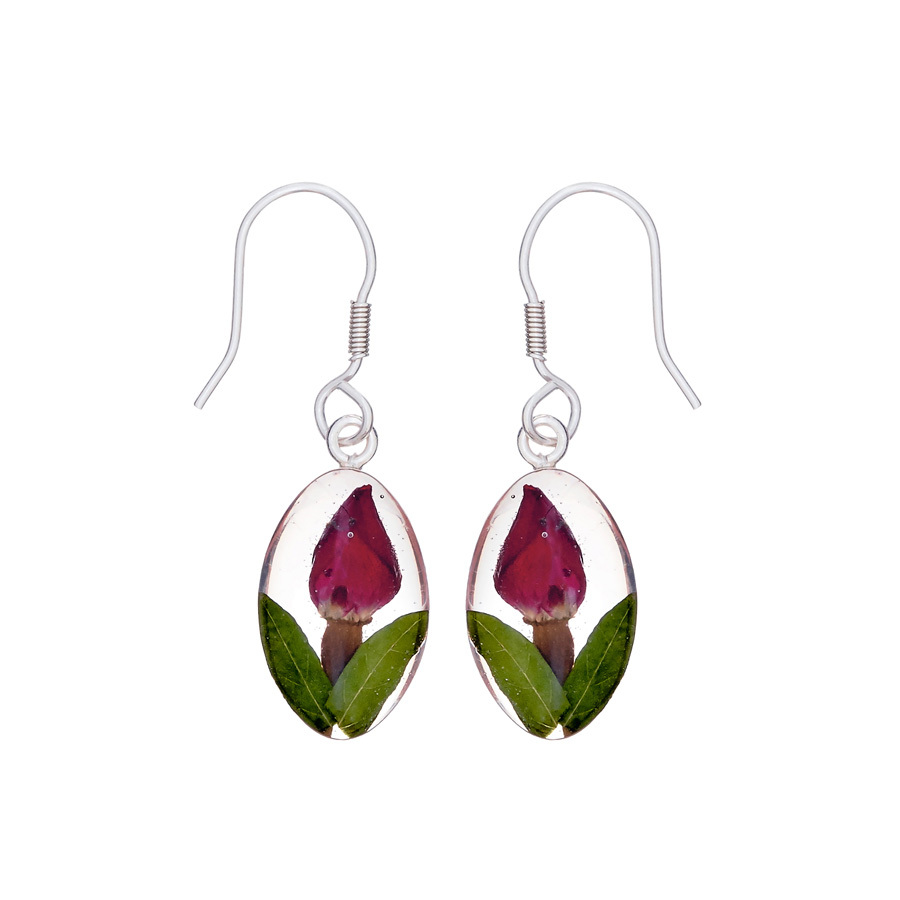 San Marco Single Rose Mexican Flowers Seed Small Hook Earrings