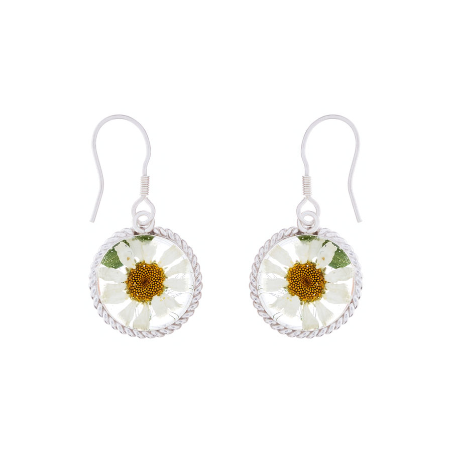 San Marco White Mexican Flowers Round Baroque Small Hook Earrings